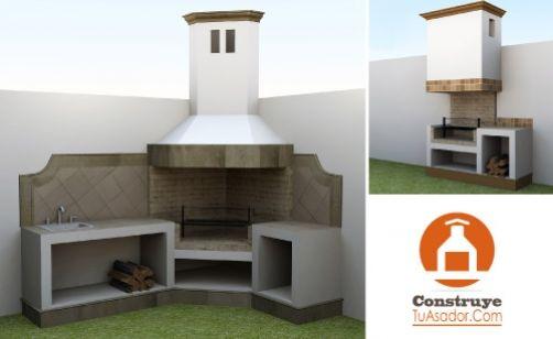 Asadores de ladrillo con chimenea modernos buscar con for Asadores de jardin de ladrillo
