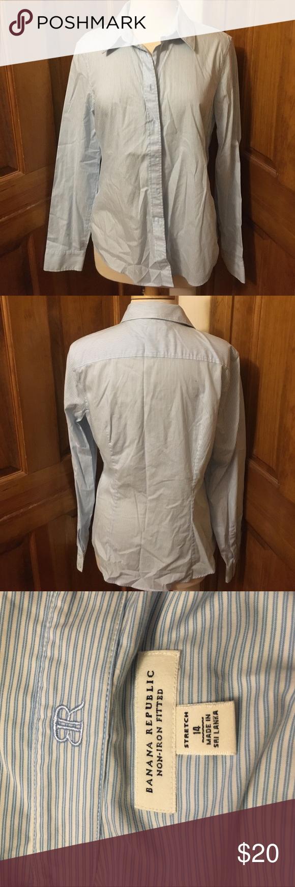 "Light blue striped button down top Iight blue striped button down blouse- ""non-iron fitted""""stretch"" Banana Republic Tops Button Down Shirts"