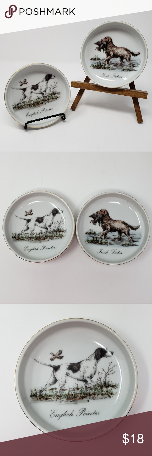 Vintage Hunting Dog Irish Setter Trinket Bowl
