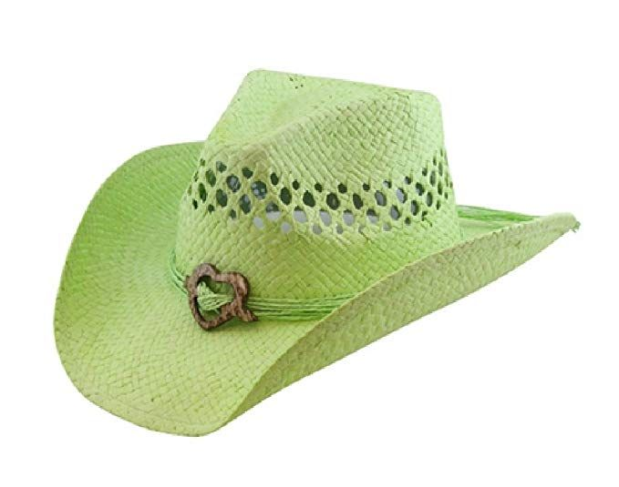 4b55a0b956224 Saddleback Hats Vented Straw Cowboy Hat w Wood Heart Band –Shapeable  Cowgirl Western (Lime)
