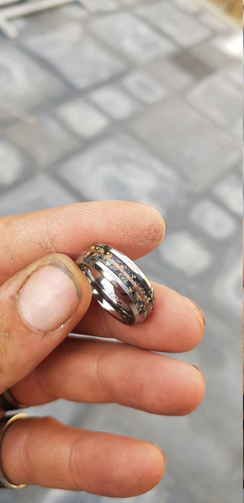 Moonstone Tungsten Ring,copper ring moon ring, Rainbow