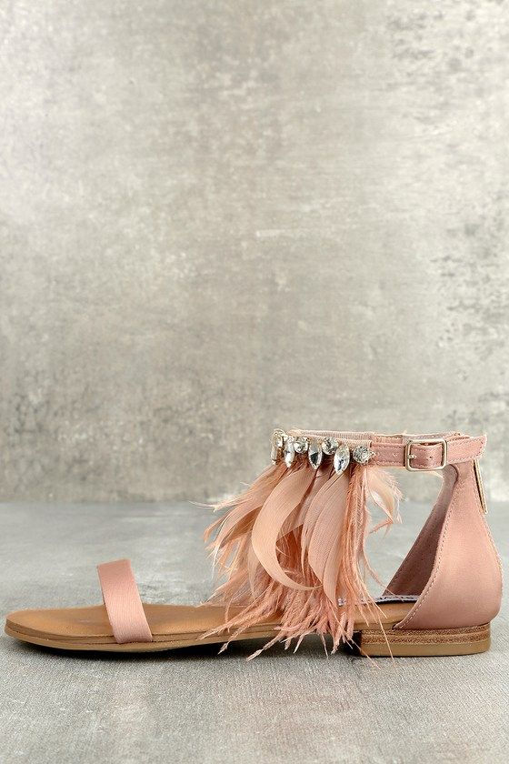 623e68ac04d1 Steve Madden Adore Blush Feather and Rhinestone Sandals ...