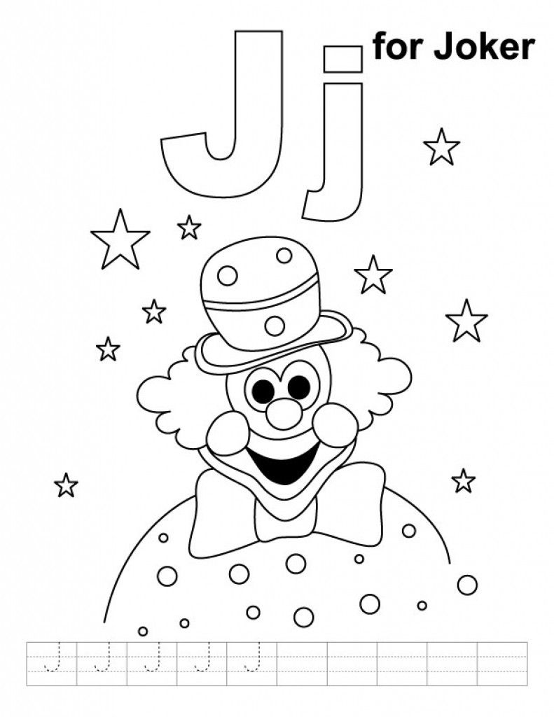J Is For Joker Coloring Page Kids Printable Free