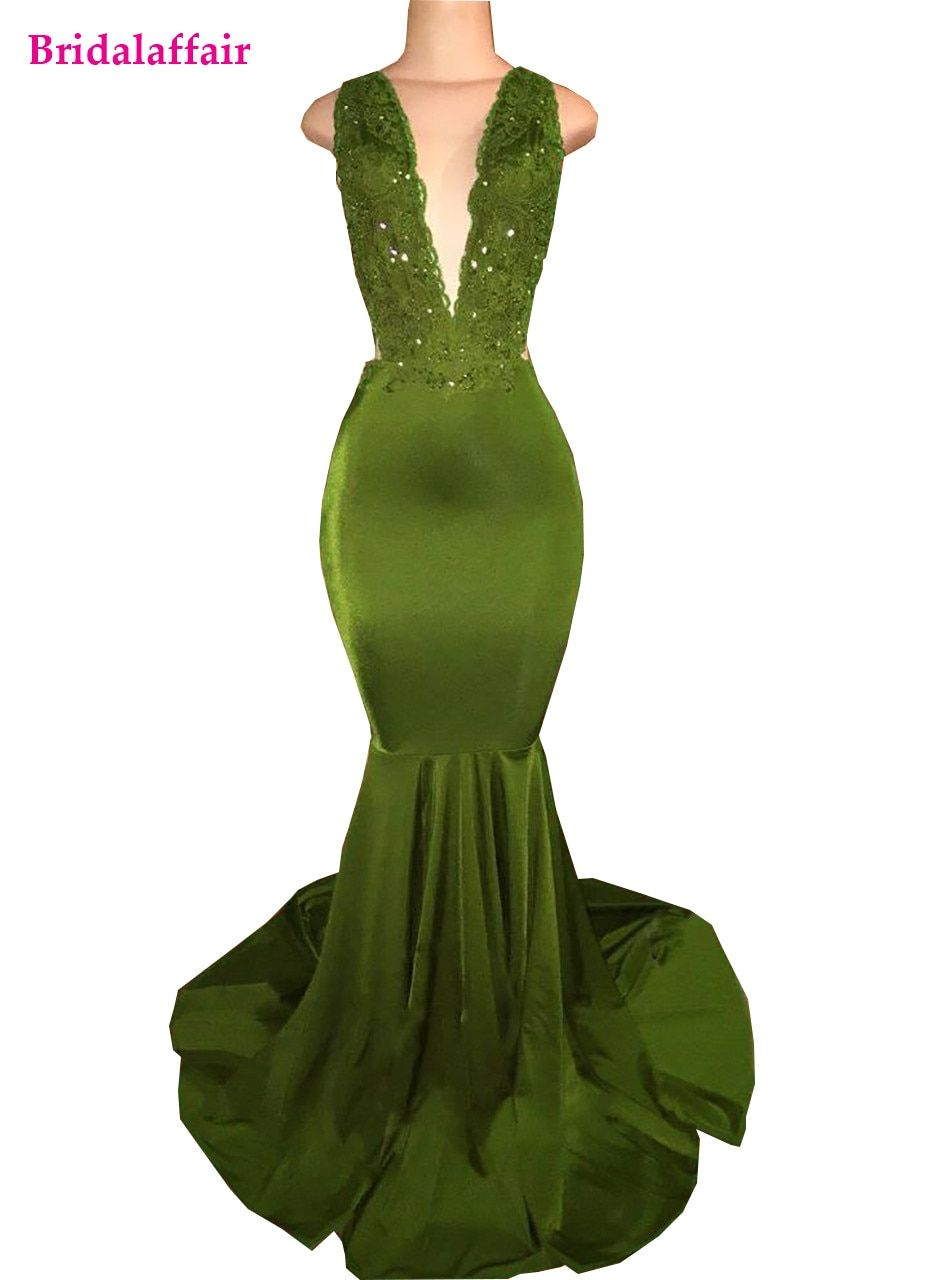 2018 Olive Green Mermaid Dress For Prom Dresses Long Satin Beaded Lace Appliqued Sweep Train Green Evening Gowns Prom Dresses Long Mermaid Green Formal Dresses [ 1280 x 945 Pixel ]