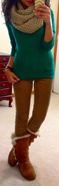 sweater, cords, chunky scarf, & Uggs