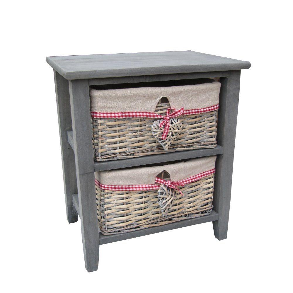 Wicker storage basket home storage baskets melbury rectangular wicker - Buy Grey Wooden Bedside Table With 2 Grey Wash Wicker Storage Baskets