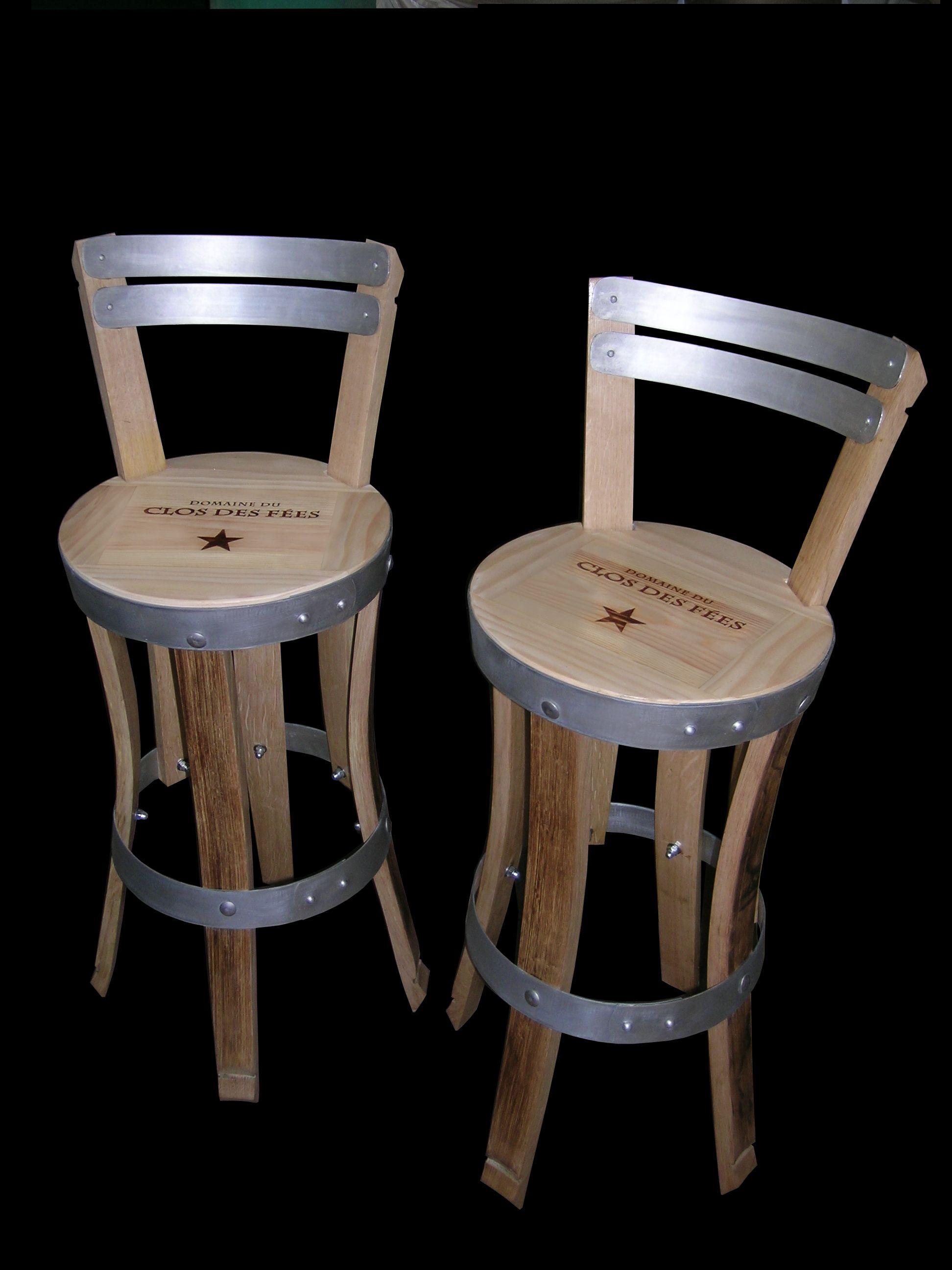 Chaises de bar r alis es en douelles de tonneaux teintes et hauteur d 39 assise personnalisable - Chaise de bar d occasion ...