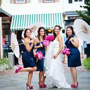 Bridesmaids navy dresses and pink shoes... what a fun shot!
