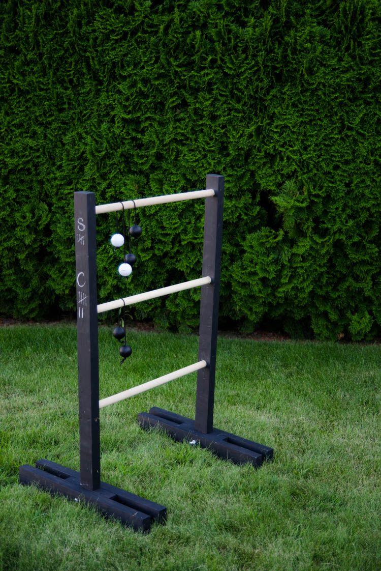 Diy ladder ball with chalkboard score keeper diy ladder