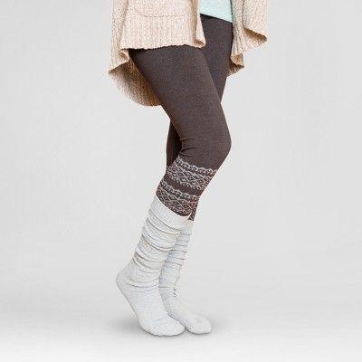 Muk Luks Women's Pattern Leggings - Dark Brown Fairisle XL/1X, Size: XL/Xxl