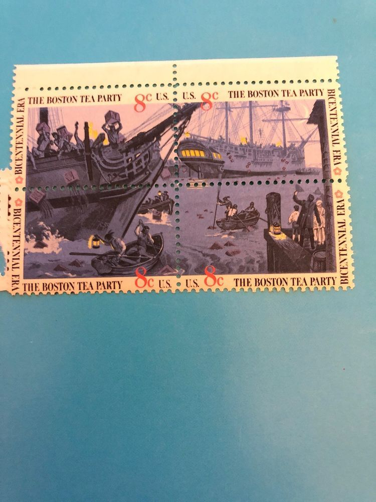 US Boston Tea Party Stamps 8 Cents Block Of 4