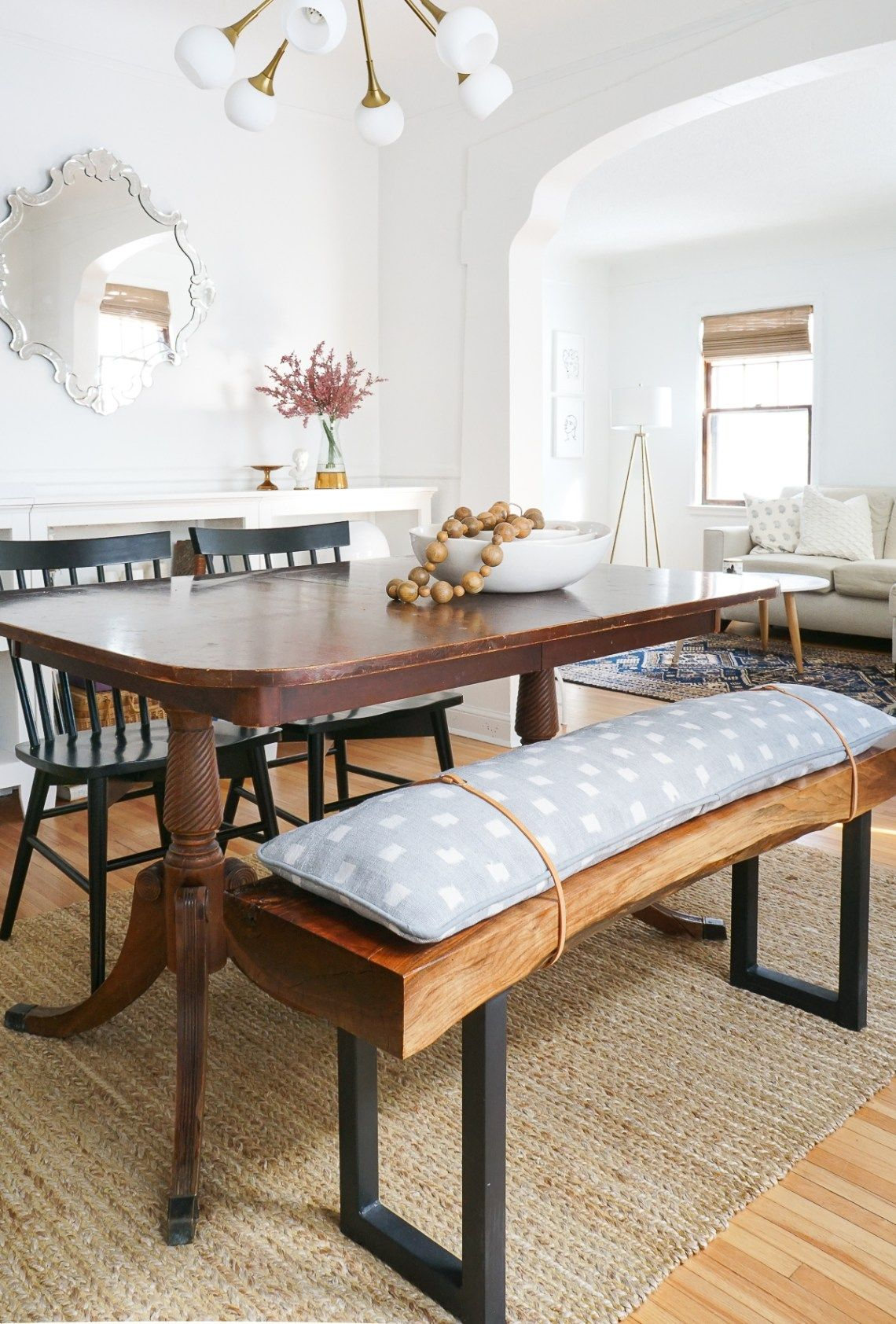 Diy Modern Bench Cushion With Leather Straps Francois Et Moi Dining Room Bench Dining Bench Cushion Bench Cushions