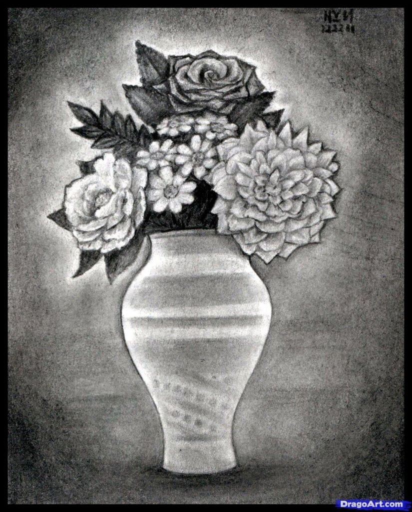 Pencil Drawing Of Flower Vase With Flowers Pencils Sketches Of