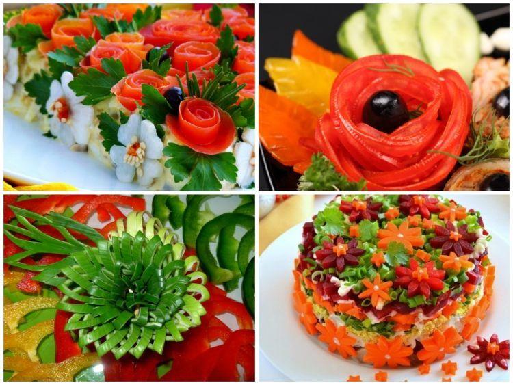 salate mit blumen aus karotten und tomaten dekoriert lebensmittelkunst pinterest karotten. Black Bedroom Furniture Sets. Home Design Ideas