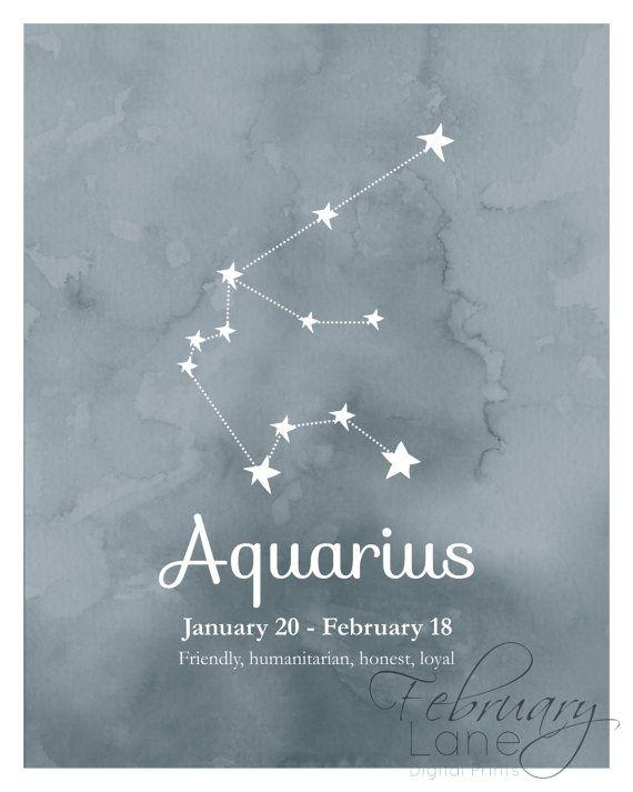 Aquarius Zodiac Constellation Wall Art Printable By Februarylane
