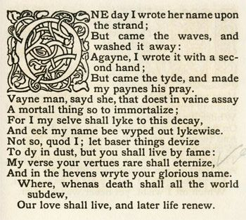 "Spenser Sonnet 75- ""one day I wrote her name upon the strand"" 