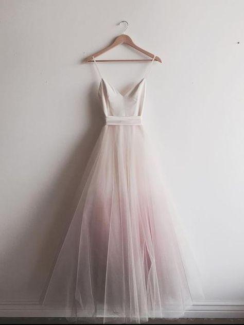 Chic Ombre Prom Dresses Spaghetti Straps A-line Floor-length Long Prom Dress JKL801
