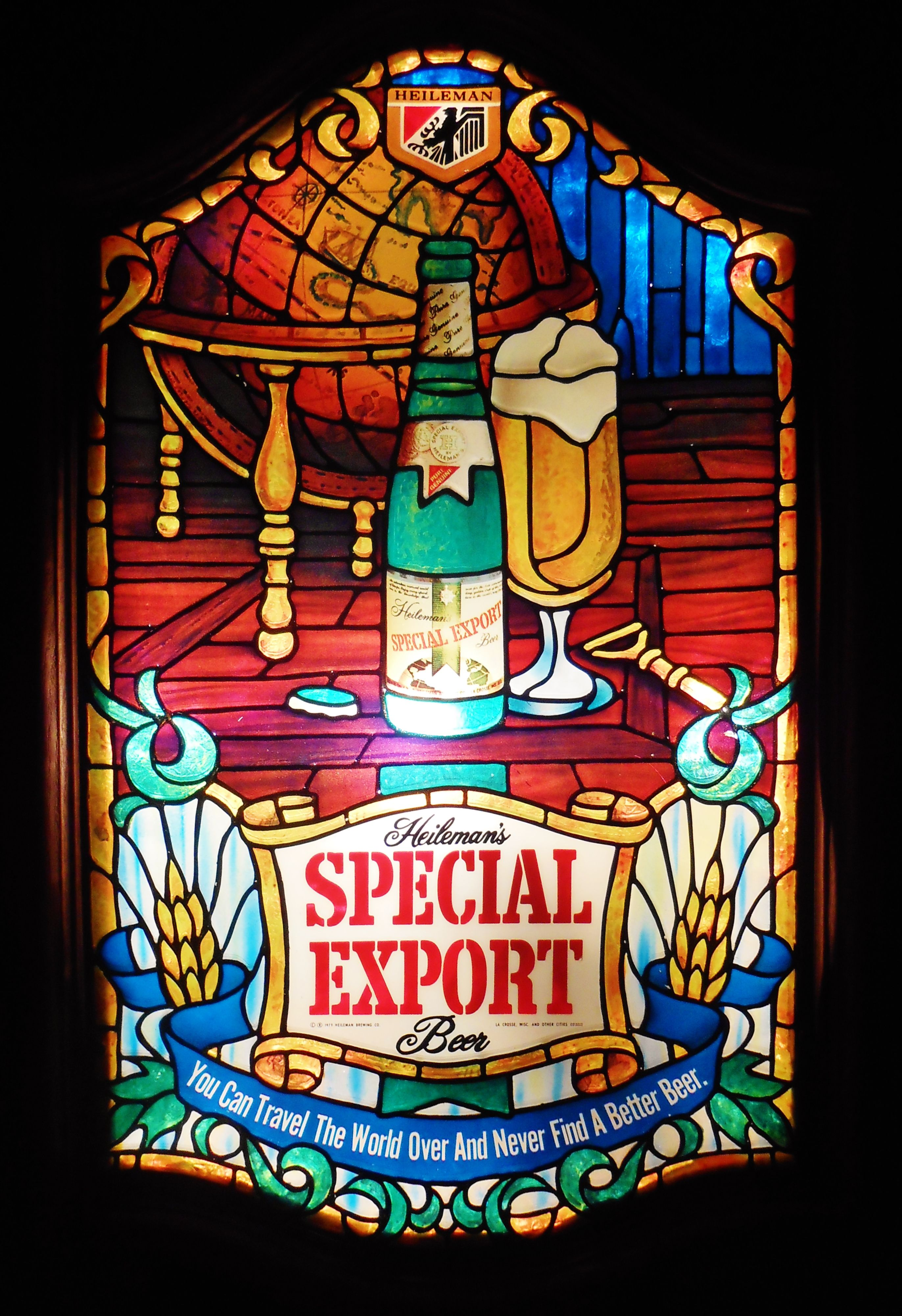 Vintage Faux Stained Gl Special Export Lighted Bar Sign Circa 1984