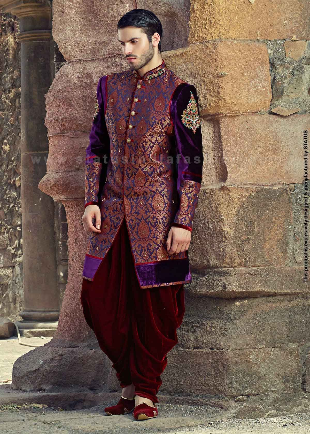 Velvet sherwani indian wedding wear groom sherwani best sherwani