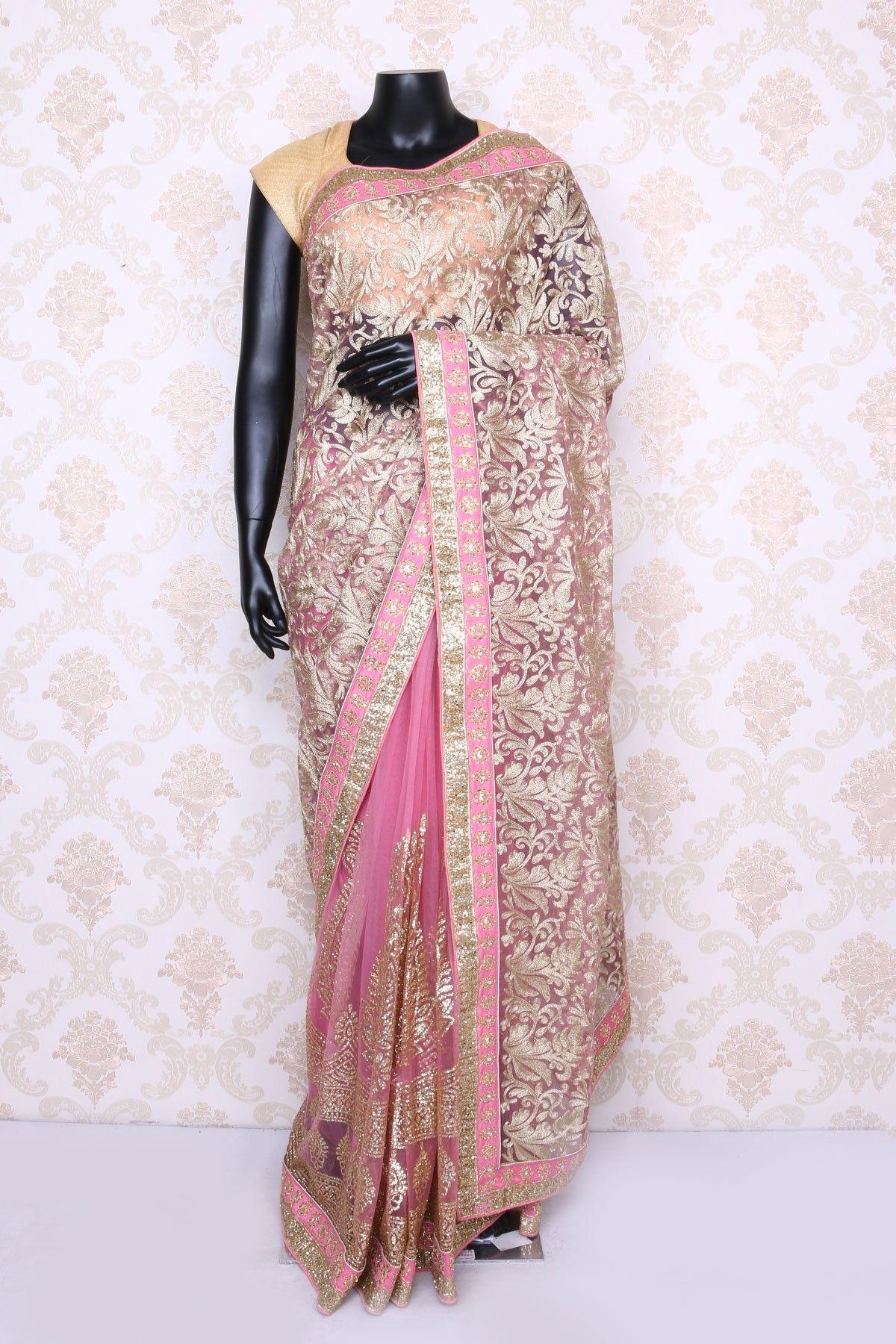 Passion Homes Borders Gold Zardozi Border Handmade Designers - Rose pink dull gold net lovely saree with satin border sr12912