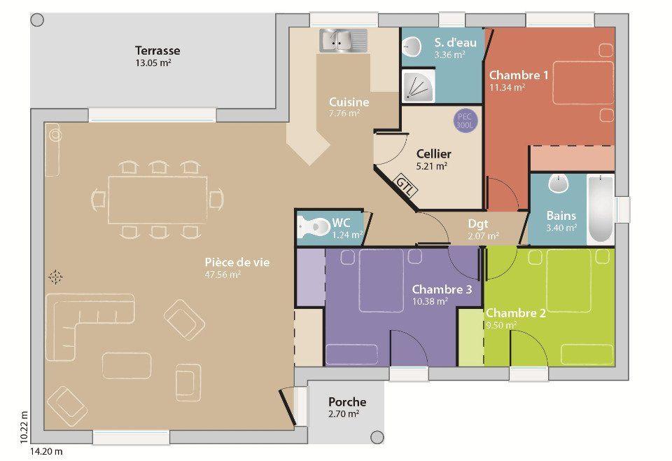Plan achat maison neuve à construire - Maisons France Confort Eco - maison de 100m2 plan