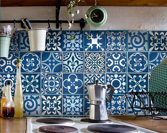 Carreaux de carrelage marocain autocollant tuile autocollants deco pinterest carrelage - Carrelage autocollant cuisine ...