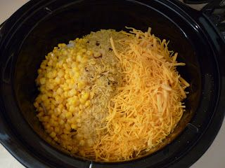 1 large Vidalia onion (chopped) 8 ounce box of Zatarain's Yellow Rice Mix (cooked) 1 cup of shredded cheddar cheese 1 can cream of chicken soup 1 can whole kernel corn (drained)