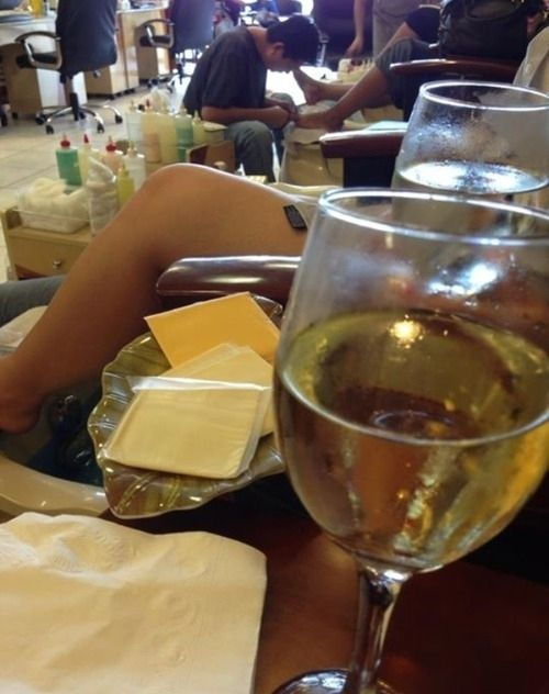 Image result for WINE IN A NAIL SALON