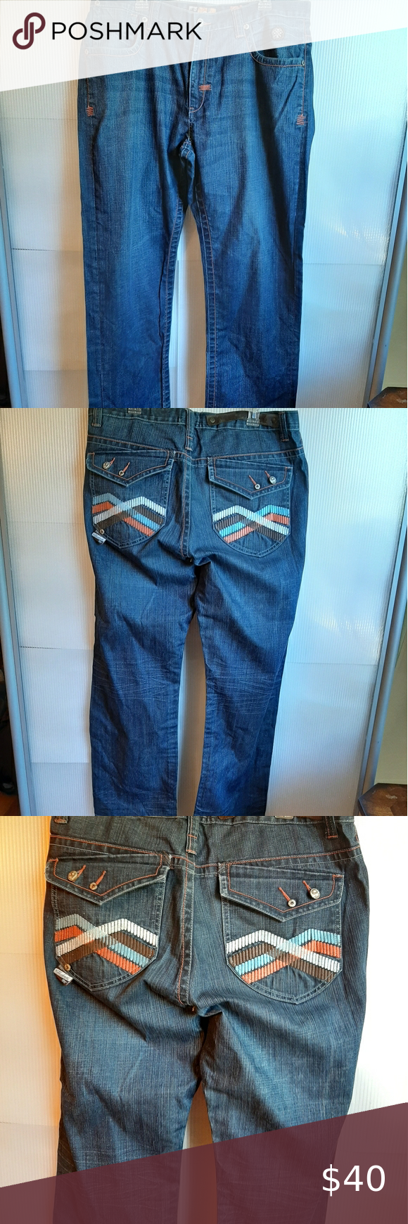 AKADEMIKS DISTRESSED MEN'S JEANS BLUE SIZE 38 AKADEMIKS DISTRESSED MEN'S JEANS SIZE 38 100%COTTON  PATERN ON POCKETS EXCELLENT CONDITION AKADEMIKS Jeans Relaxed