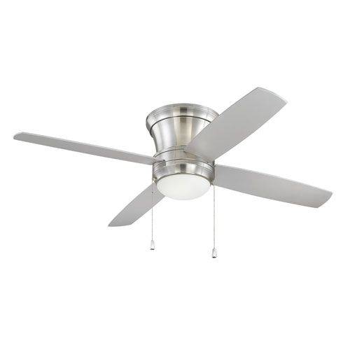 Laval Hugger Brushed Polished Nickel 44-Inch Fluorescent Ceiling Fan with Reversible Silver Blades