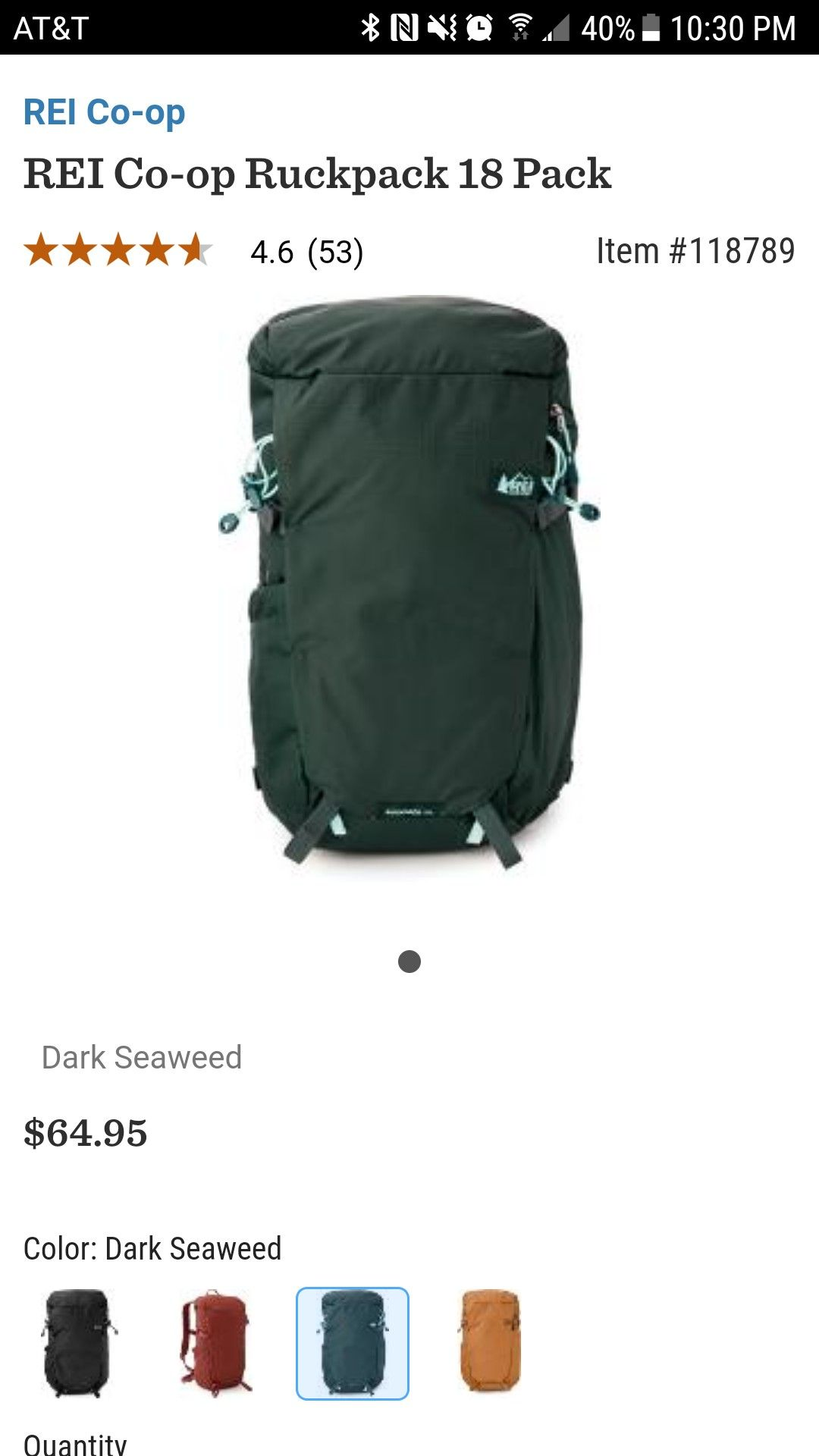 ae52125f0d02 Rei rucksack 18 in dark seaweed This would make a good day hiking pack.