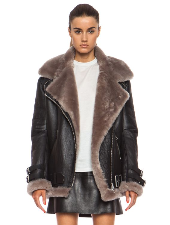 Zara knocks off Acne Studios Velocite oversized shearling-lined biker jacket  - LaiaMagazine