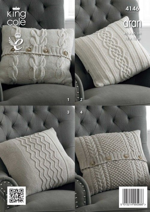 Knitted Aran Cushion Covers King Cole Pillow Pinterest