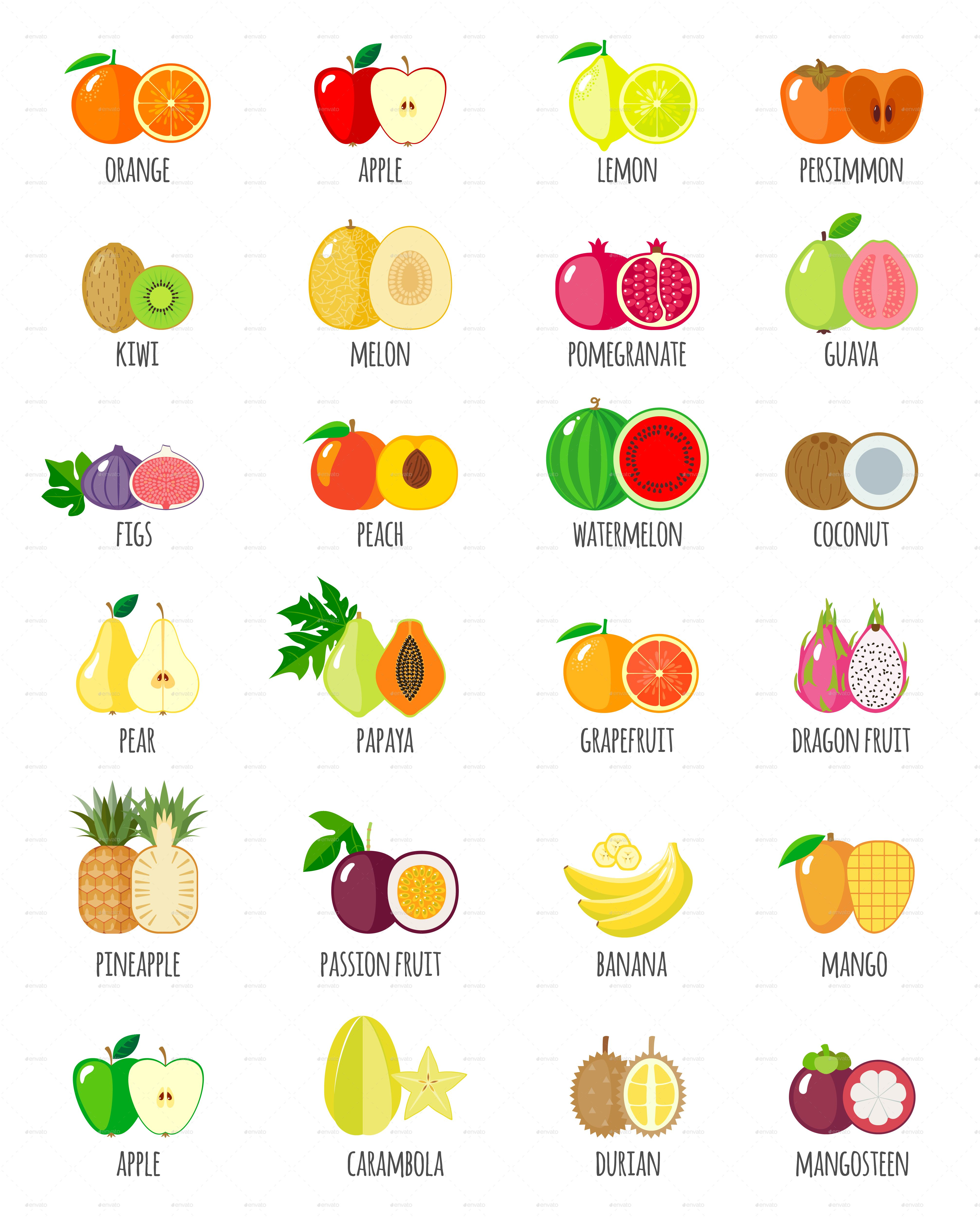 Set Of Fruit Icons With Their Name