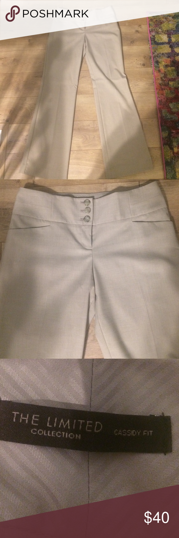 The Limited Cassidy fit dress pants, khaki size 6R Great versatile pants. The Limited Cassidy fit dress pant in beige. Size 6R. In perfect condition, never worn. Cute three button waist detail The Limited Pants Trousers