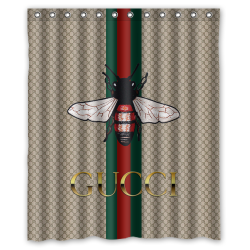 Hot Sale Gucci Bee Stripes Shower Curtain Size 60 X72 72 X72 Fabric Shower Curtains Shower Curtain Sizes Printed Shower Curtain