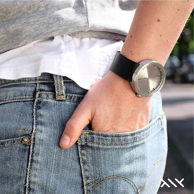 LEFF amsterdam  |  The tube watch D42 Steel with black leather strap.