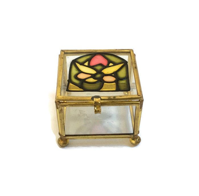 Glass Curio Box Brass Glass Jewelry Box Display Box Glass