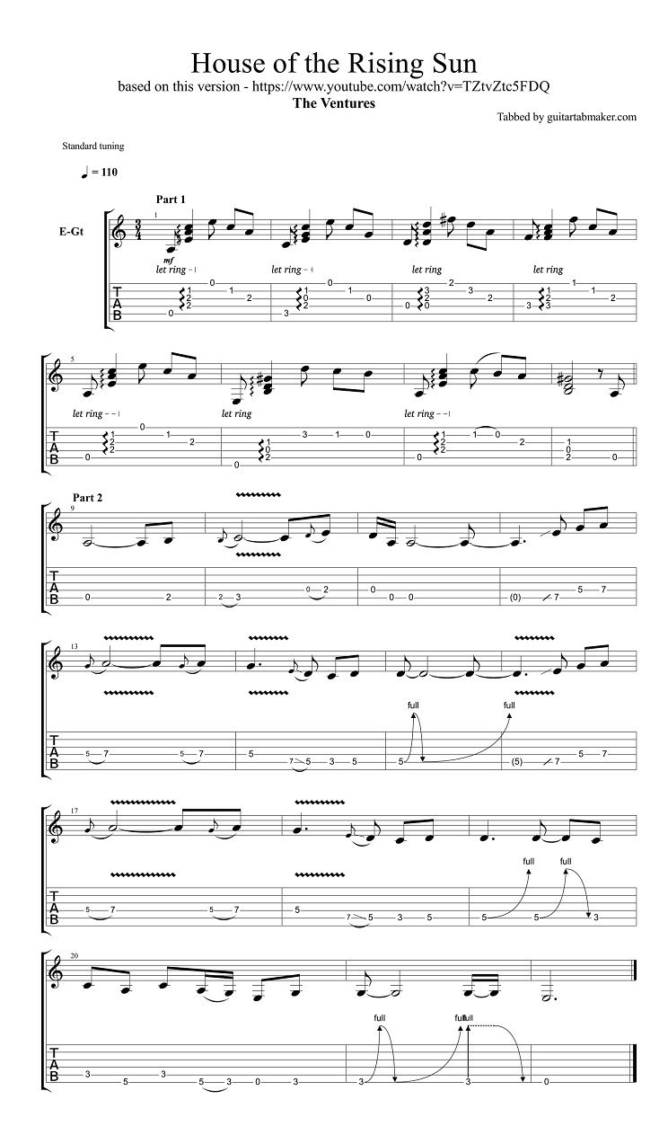 The Ventures House of the Rising Sun guitar tabs