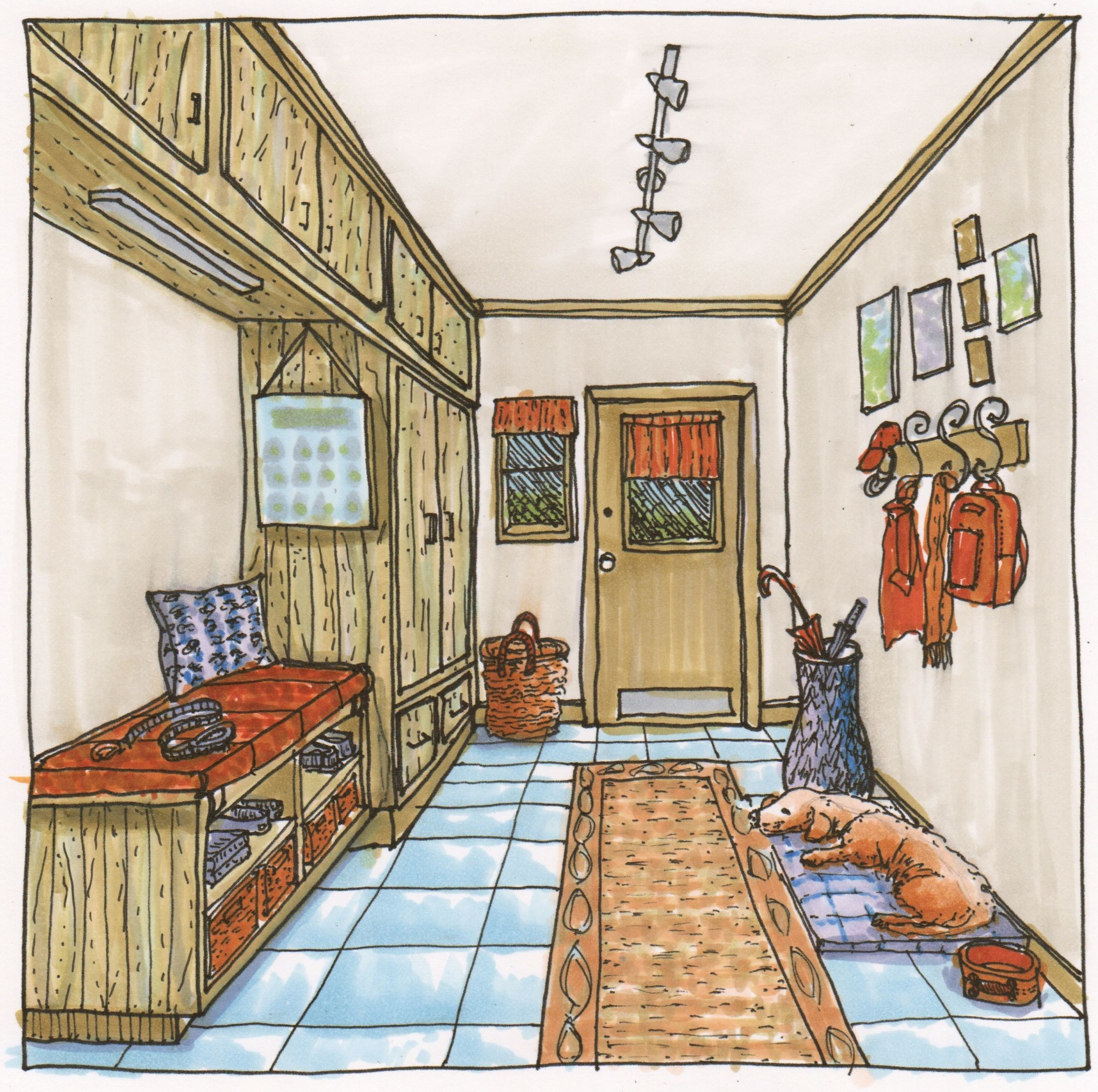 One Point Perspective Interior Watercolor Painting