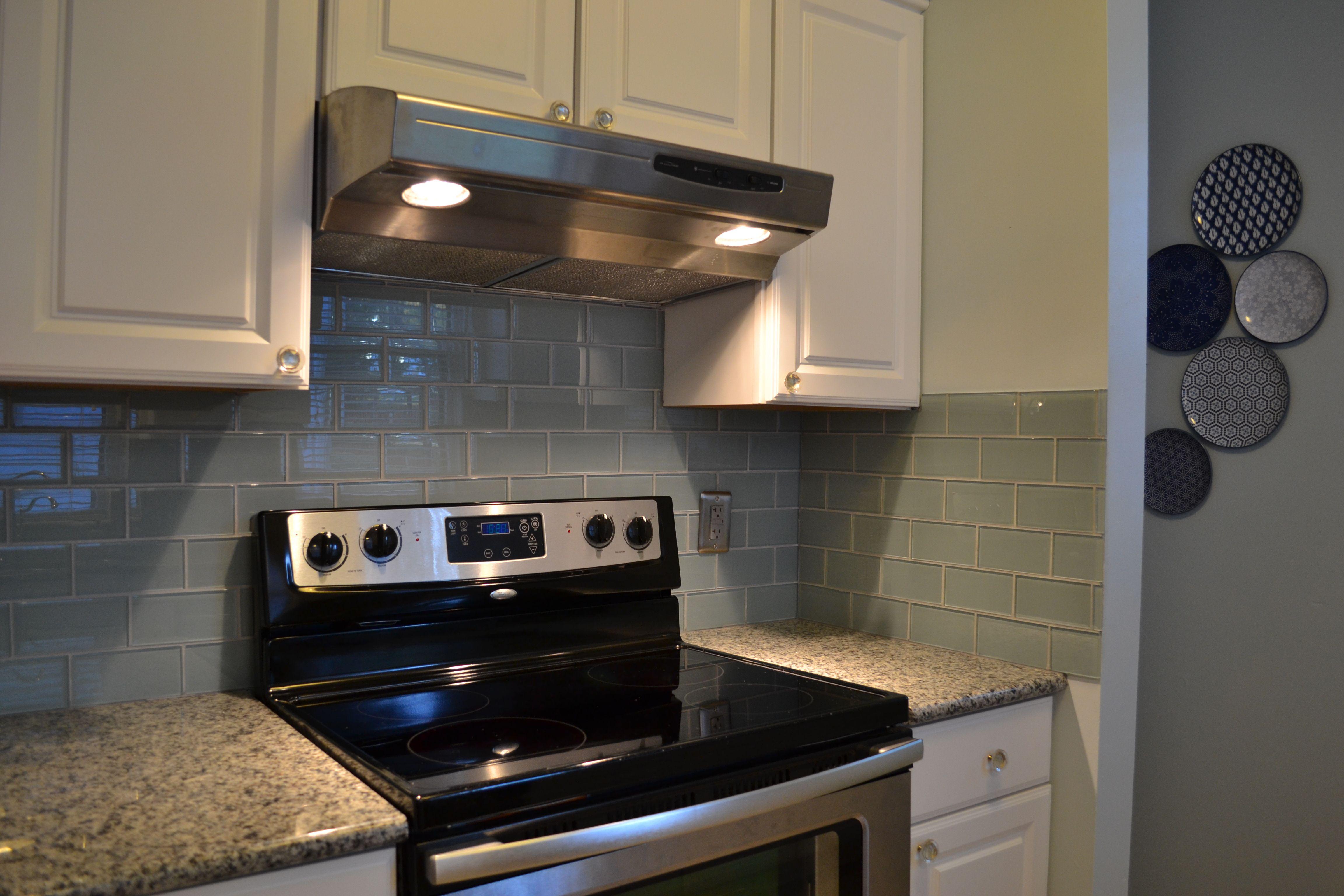 - Light Blue Backsplash With Azul Platino Granite Kitchen Inspirations,  Home Design Decor, Light Blue Backsplash