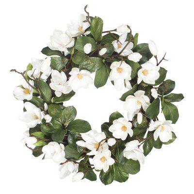 Photo of Gracie Oaks Garden Magnolia 24″ Polyester Wreath