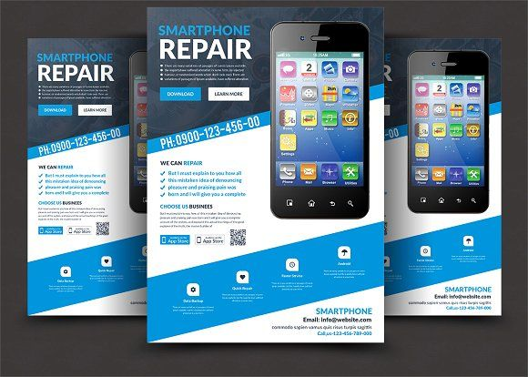 Smartphone Repair Flyer Templates @Creativework247 | Templates