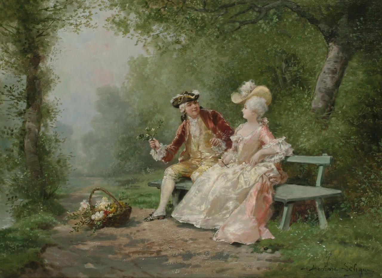 The Romantic Suitor - Theodore Levigne (french painter)