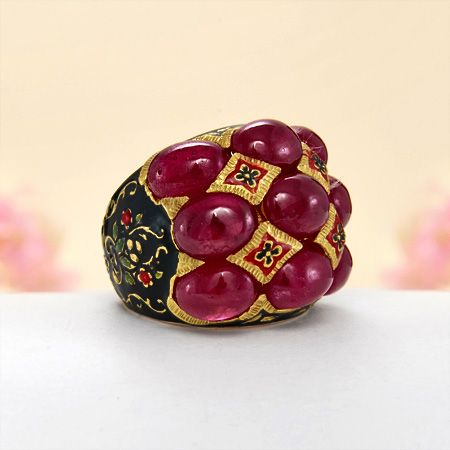 Gold Over Sterling Silver 24.50 ct. t.w. African Ruby Enamel Ring