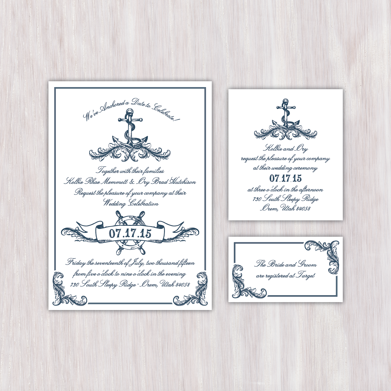 Beach/nautical themed, one color, single-sided wedding announcement ...