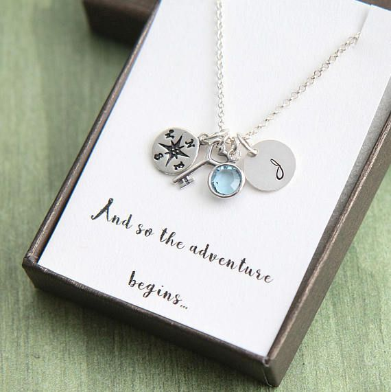 Sterling Silver Compass Necklace Best Friend Gift Graduate Gift Necklace Graduation Gift Necklace Girlfriend Gift Necklace Gift for Her
