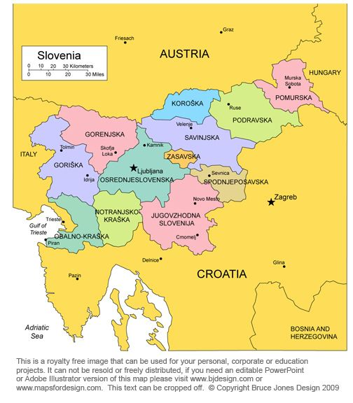 Slovenia Map capital Ljubljana European country bordered by
