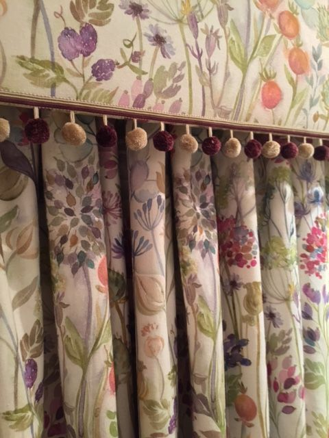 Beautiful hedgerow fabric on a pelmet and curtains with bobble ...