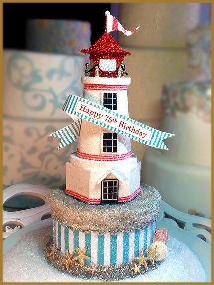 Lighthouse Cake Topper Centerpiece Keepsake Box Image